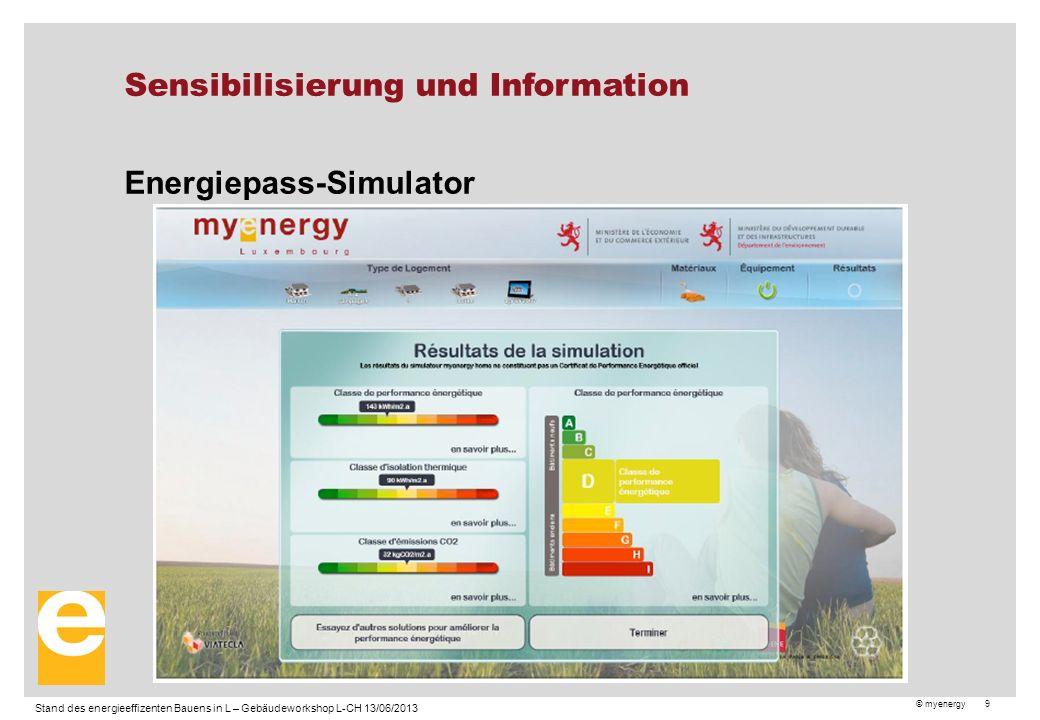 © myenergy 9 Sensibilisierung und Information Energiepass-Simulator Stand des energieeffizenten Bauens in L – Gebäudeworkshop L-CH 13/06/2013