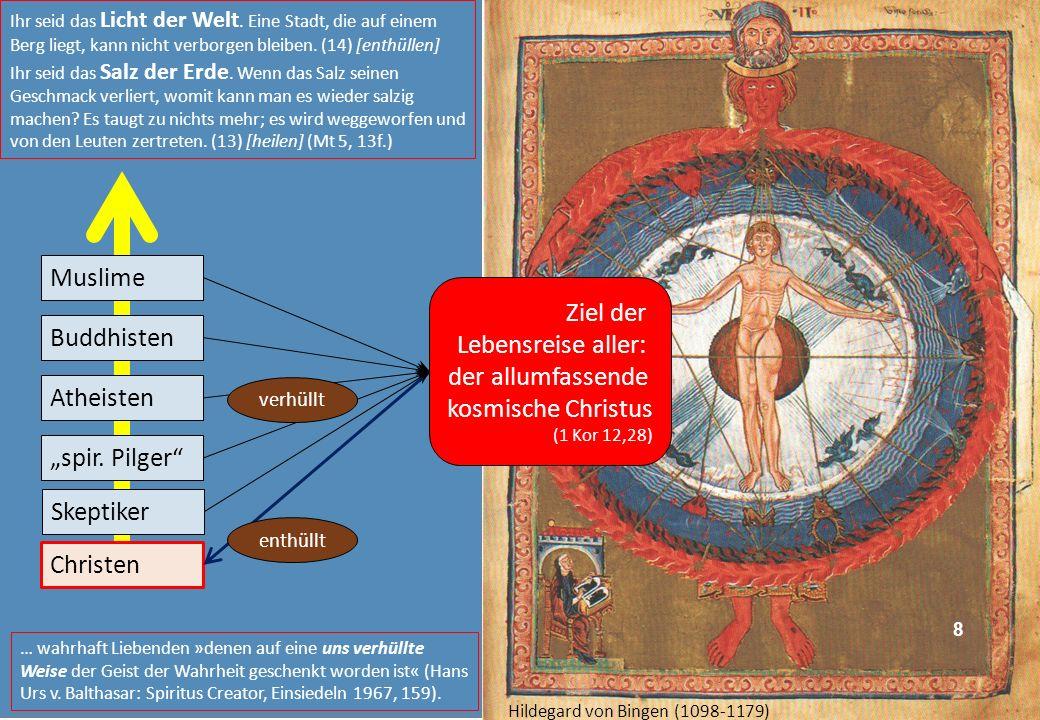 Ziel der Lebensreise aller: der allumfassende kosmische Christus (1 Kor 12,28) Muslime Buddhisten Atheisten Christen spir. Pilger verhüllt enthüllt 8