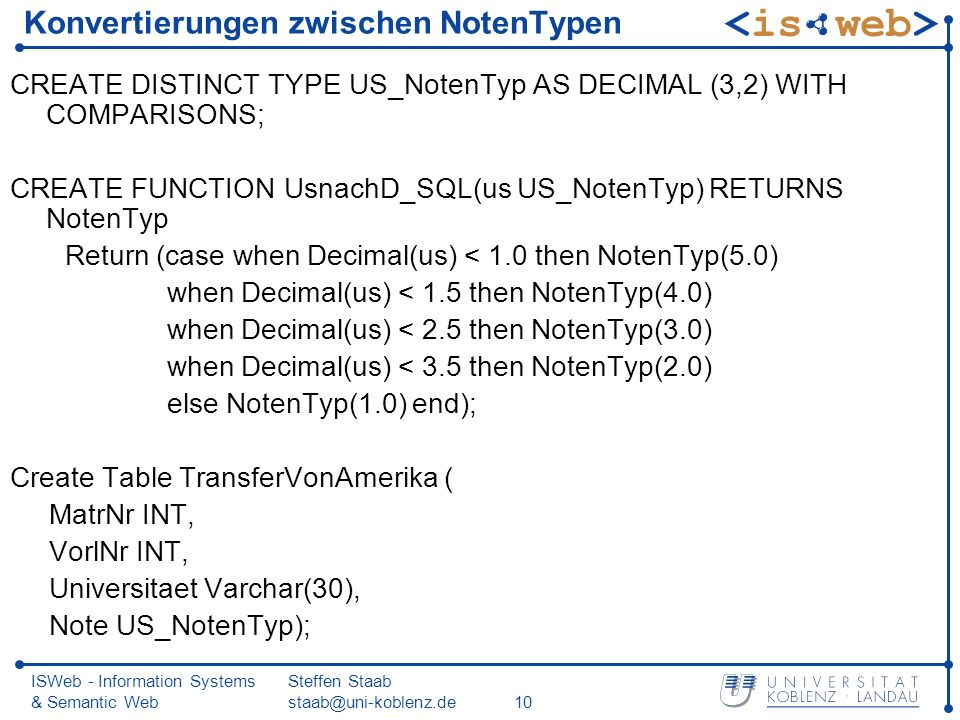 ISWeb - Information Systems & Semantic Web Steffen Staab staab@uni-koblenz.de10 Konvertierungen zwischen NotenTypen CREATE DISTINCT TYPE US_NotenTyp AS DECIMAL (3,2) WITH COMPARISONS; CREATE FUNCTION UsnachD_SQL(us US_NotenTyp) RETURNS NotenTyp Return (case when Decimal(us) < 1.0 then NotenTyp(5.0) when Decimal(us) < 1.5 then NotenTyp(4.0) when Decimal(us) < 2.5 then NotenTyp(3.0) when Decimal(us) < 3.5 then NotenTyp(2.0) else NotenTyp(1.0) end); Create Table TransferVonAmerika ( MatrNr INT, VorlNr INT, Universitaet Varchar(30), Note US_NotenTyp);