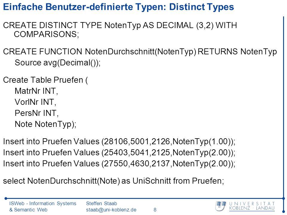 ISWeb - Information Systems & Semantic Web Steffen Staab staab@uni-koblenz.de29 Vererbung von Objekttypen (2) Ändern eines Objekttyps: ALTER TYPE Professoren_t ADD METHOD anzMitarb() RETURNS INT LANGUAGE SQL CONTAINS SQL READS SQL DATA;
