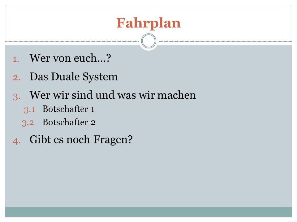 Fahrplan 1.Wer von euch…. 2. Das Duale System 3.