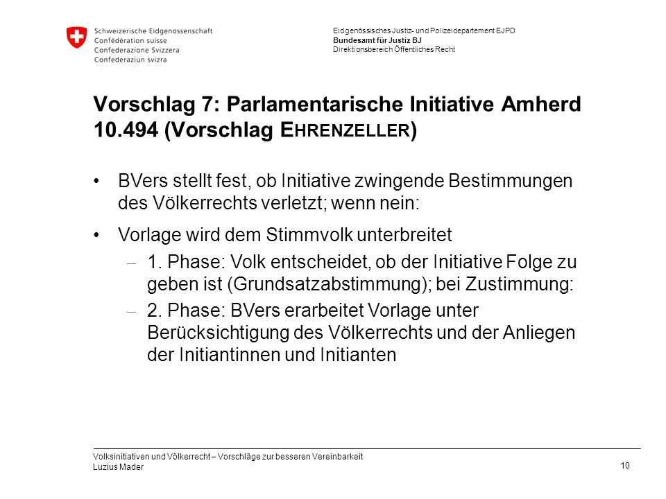 Eidgenössisches Justiz- und Polizeidepartement EJPD Bundesamt für Justiz BJ Direktionsbereich Öffentliches Recht Vorschlag 7: Parlamentarische Initiat