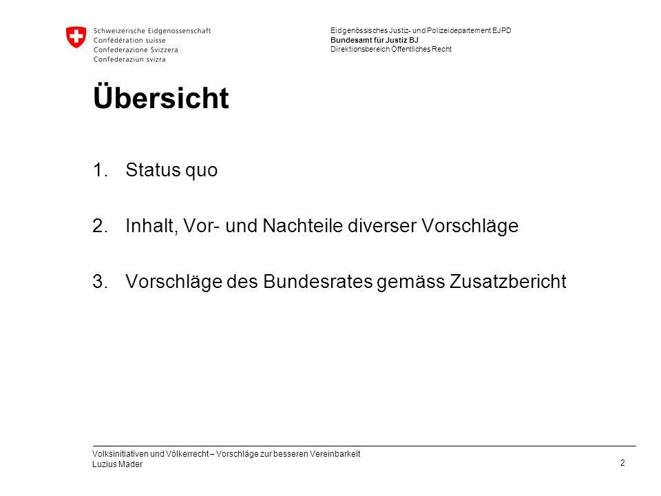 Eidgenössisches Justiz- und Polizeidepartement EJPD Bundesamt für Justiz BJ Direktionsbereich Öffentliches Recht Übersicht 1.Status quo 2.Inhalt, Vor-