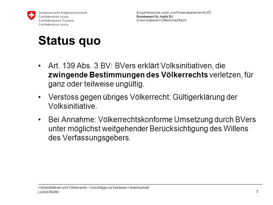 Eidgenössisches Justiz- und Polizeidepartement EJPD Bundesamt für Justiz BJ Direktionsbereich Öffentliches Recht Status quo Art. 139 Abs. 3 BV: BVers