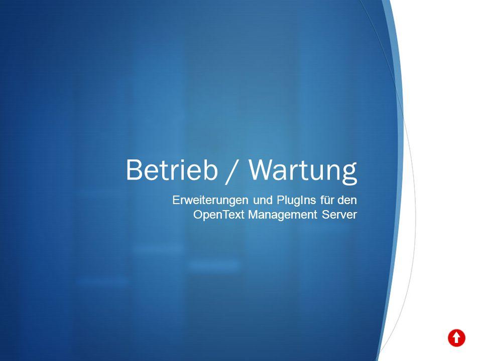 Betrieb / Wartung Erweiterungen und PlugIns für den OpenText Management Server