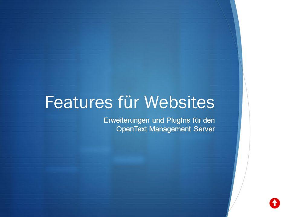 Features für Websites Erweiterungen und PlugIns für den OpenText Management Server
