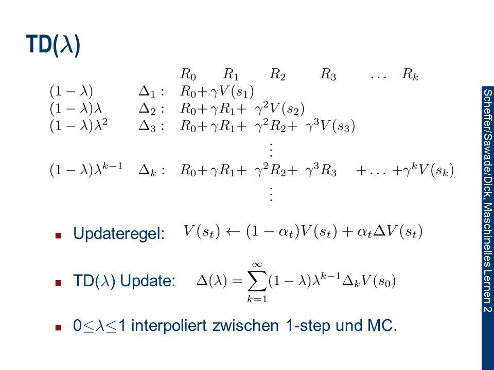 Scheffer/Sawade/Dick, Maschinelles Lernen 2 TD( ¸ ) Updateregel: TD( ¸ ) Update: 0 · ¸ · 1 interpoliert zwischen 1-step und MC.