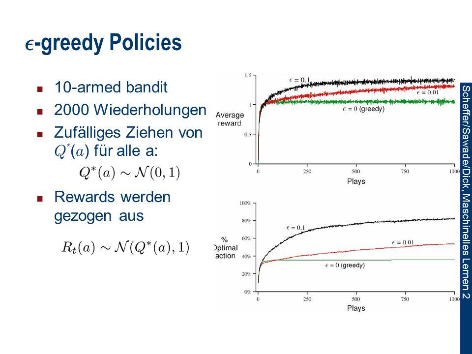 Scheffer/Sawade/Dick, Maschinelles Lernen 2 ² -greedy Policies 10-armed bandit 2000 Wiederholungen Zufälliges Ziehen von Q * ( a ) für alle a: Rewards werden gezogen aus