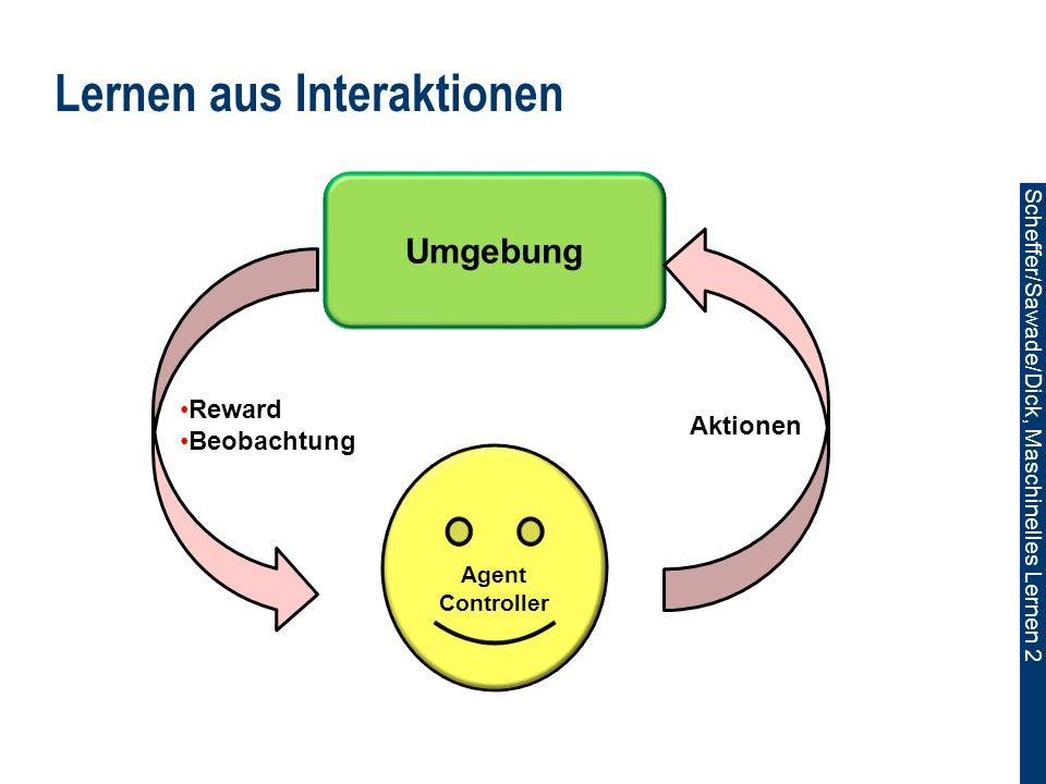 Scheffer/Sawade/Dick, Maschinelles Lernen 2 Lernen aus Interaktionen Umgebung Agent Controller Aktionen Reward Beobachtung