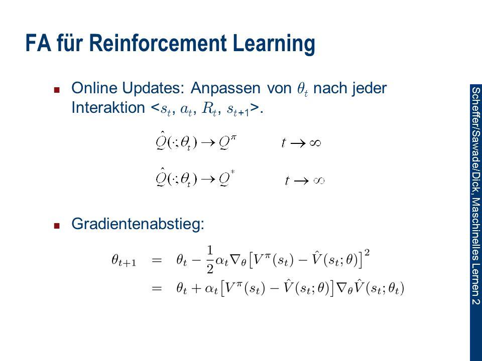 Scheffer/Sawade/Dick, Maschinelles Lernen 2 FA für Reinforcement Learning Online Updates: Anpassen von µ t nach jeder Interaktion.