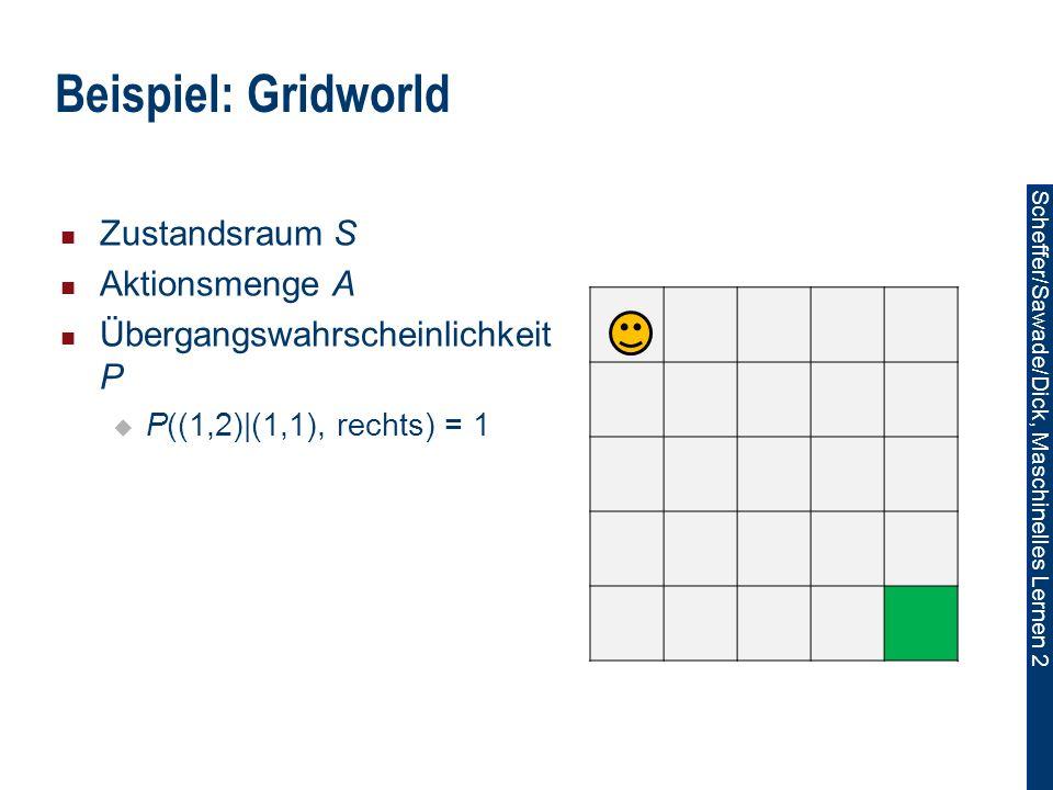 Scheffer/Sawade/Dick, Maschinelles Lernen 2 Zustandsraum S Aktionsmenge A Übergangswahrscheinlichkeit P P((1,2)|(1,1), rechts) = 1 Beispiel: Gridworld