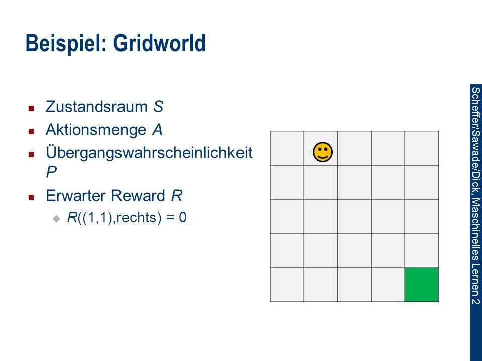 Scheffer/Sawade/Dick, Maschinelles Lernen 2 Zustandsraum S Aktionsmenge A Übergangswahrscheinlichkeit P Erwarter Reward R R((1,1),rechts) = 0 Beispiel: Gridworld