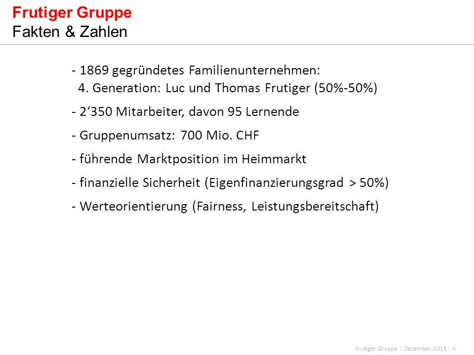 Frutiger Gruppe | Dezember 2011 | 3 Frutiger Gruppe Fakten & Zahlen - 1869 gegründetes Familienunternehmen: 4. Generation: Luc und Thomas Frutiger (50