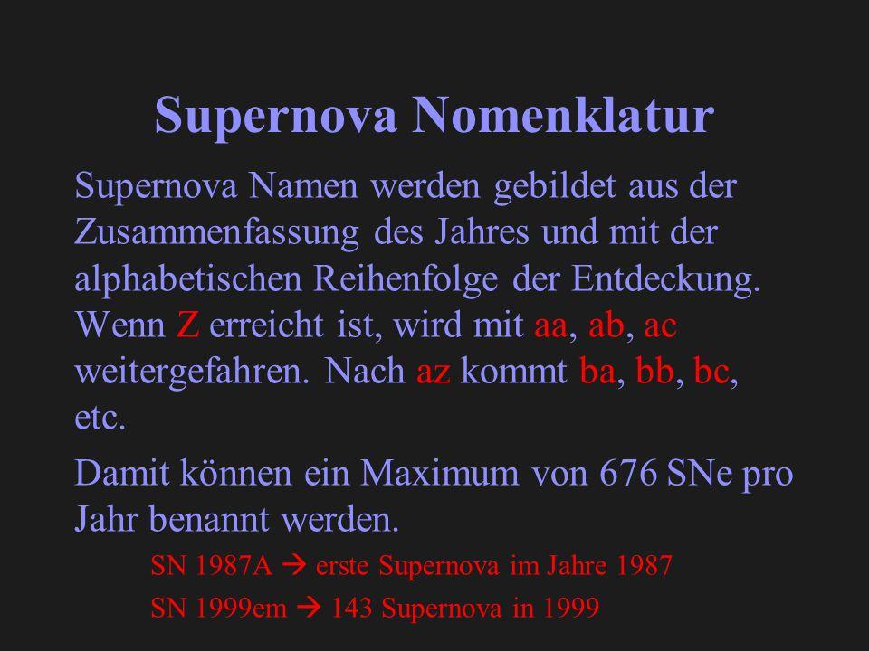 Supernova Nomenklatur Supernova Namen werden gebildet aus der Zusammenfassung des Jahres und mit der alphabetischen Reihenfolge der Entdeckung.
