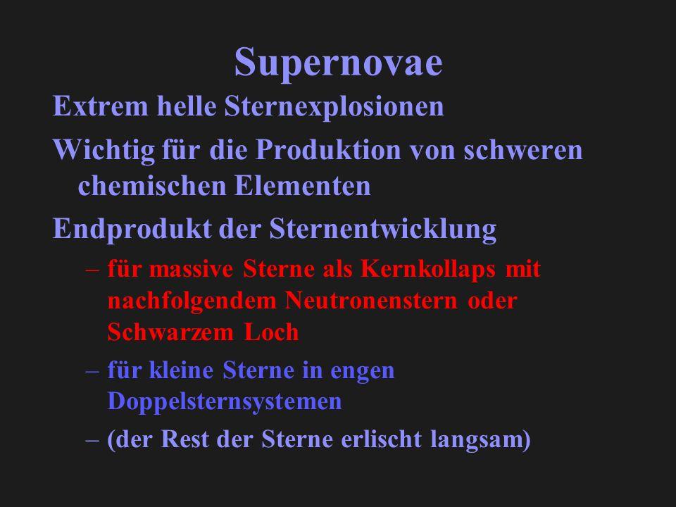 Supernovae Extrem helle Sternexplosionen Wichtig für die Produktion von schweren chemischen Elementen Endprodukt der Sternentwicklung –für massive Ste