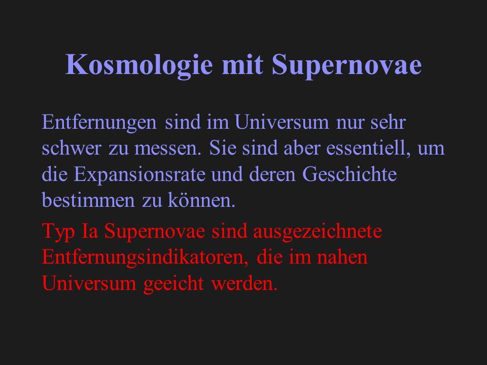 Kosmologie mit Supernovae Entfernungen sind im Universum nur sehr schwer zu messen. Sie sind aber essentiell, um die Expansionsrate und deren Geschich