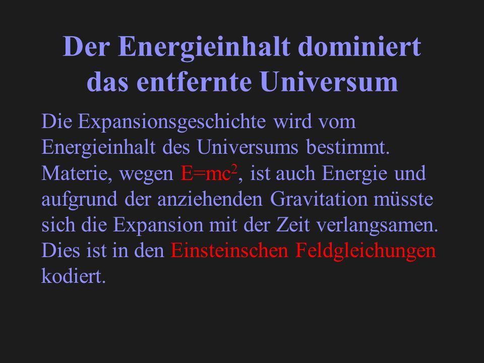 Der Energieinhalt dominiert das entfernte Universum Die Expansionsgeschichte wird vom Energieinhalt des Universums bestimmt. Materie, wegen E=mc 2, is