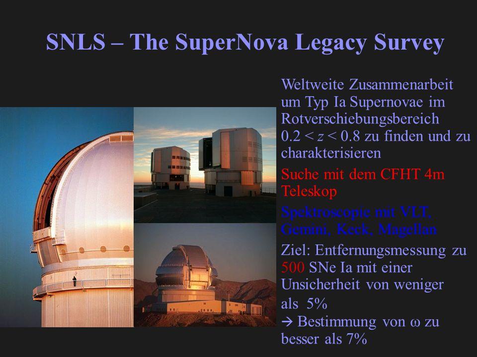 SNLS – The SuperNova Legacy Survey Weltweite Zusammenarbeit um Typ Ia Supernovae im Rotverschiebungsbereich 0.2 < z < 0.8 zu finden und zu charakterisieren Suche mit dem CFHT 4m Teleskop Spektroscopie mit VLT, Gemini, Keck, Magellan Ziel: Entfernungsmessung zu 500 SNe Ia mit einer Unsicherheit von weniger als 5% Bestimmung von ω zu besser als 7%