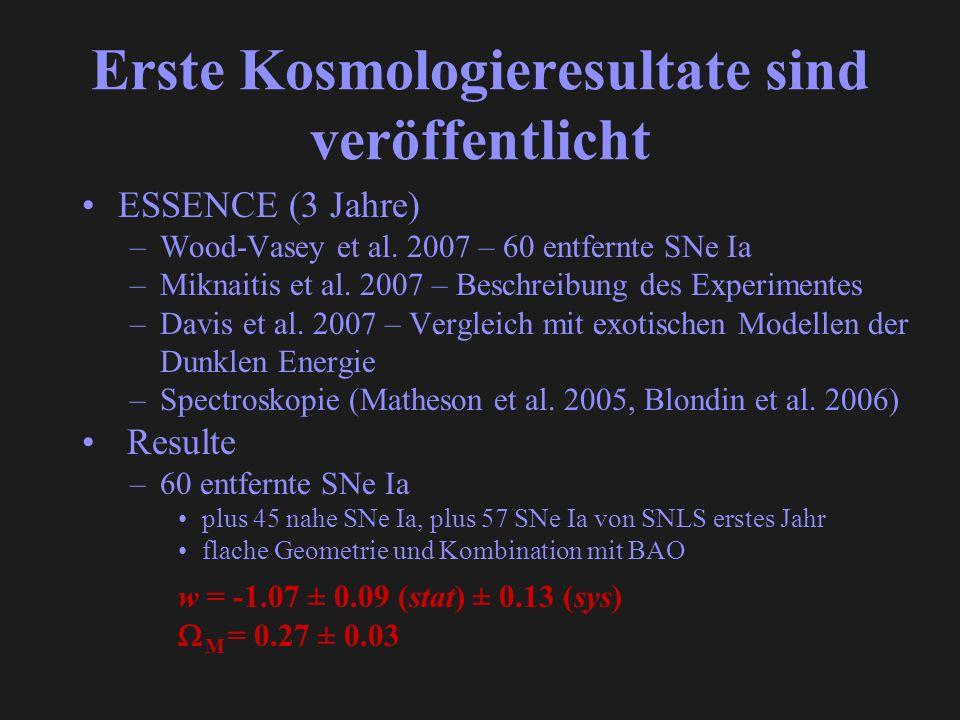 Erste Kosmologieresultate sind veröffentlicht ESSENCE (3 Jahre) –Wood-Vasey et al. 2007 – 60 entfernte SNe Ia –Miknaitis et al. 2007 – Beschreibung de
