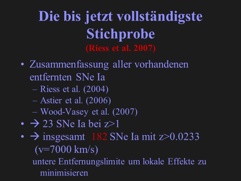 Die bis jetzt vollständigste Stichprobe (Riess et al. 2007) Zusammenfassung aller vorhandenen entfernten SNe Ia –Riess et al. (2004) –Astier et al. (2