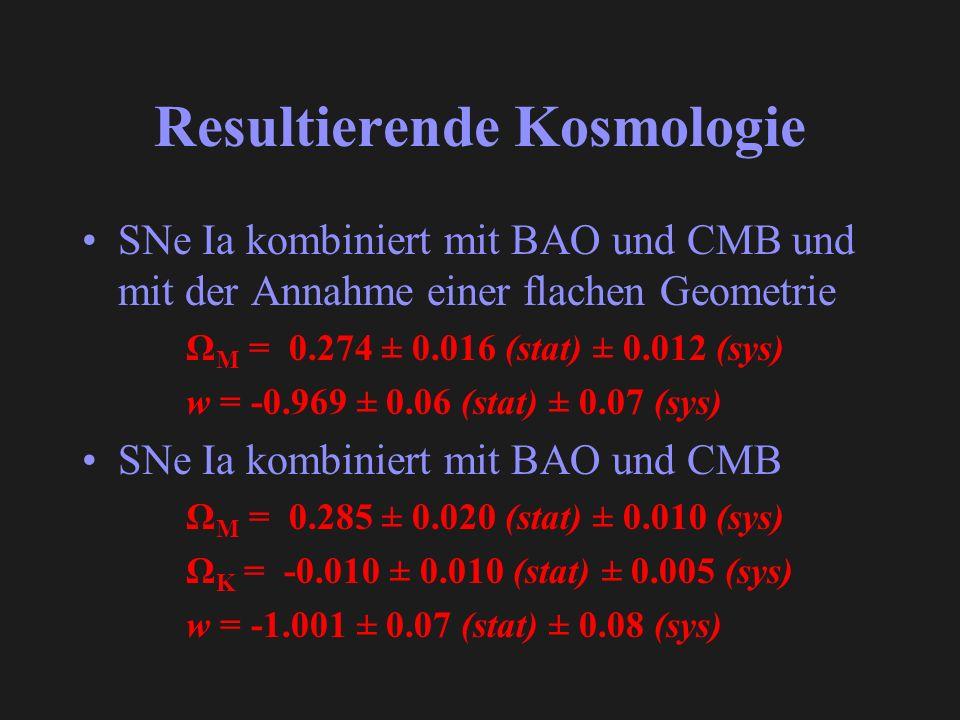 Resultierende Kosmologie SNe Ia kombiniert mit BAO und CMB und mit der Annahme einer flachen Geometrie Ω M = 0.274 ± 0.016 (stat) ± 0.012 (sys) w = -0.969 ± 0.06 (stat) ± 0.07 (sys) SNe Ia kombiniert mit BAO und CMB Ω M = 0.285 ± 0.020 (stat) ± 0.010 (sys) Ω K = -0.010 ± 0.010 (stat) ± 0.005 (sys) w = -1.001 ± 0.07 (stat) ± 0.08 (sys)