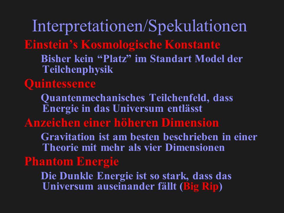 Interpretationen/Spekulationen Einsteins Kosmologische Konstante Bisher kein Platz im Standart Model der Teilchenphysik Quintessence Quantenmechanisches Teilchenfeld, dass Energie in das Universum entlässt Anzeichen einer höheren Dimension Gravitation ist am besten beschrieben in einer Theorie mit mehr als vier Dimensionen Phantom Energie Die Dunkle Energie ist so stark, dass das Universum auseinander fällt (Big Rip)