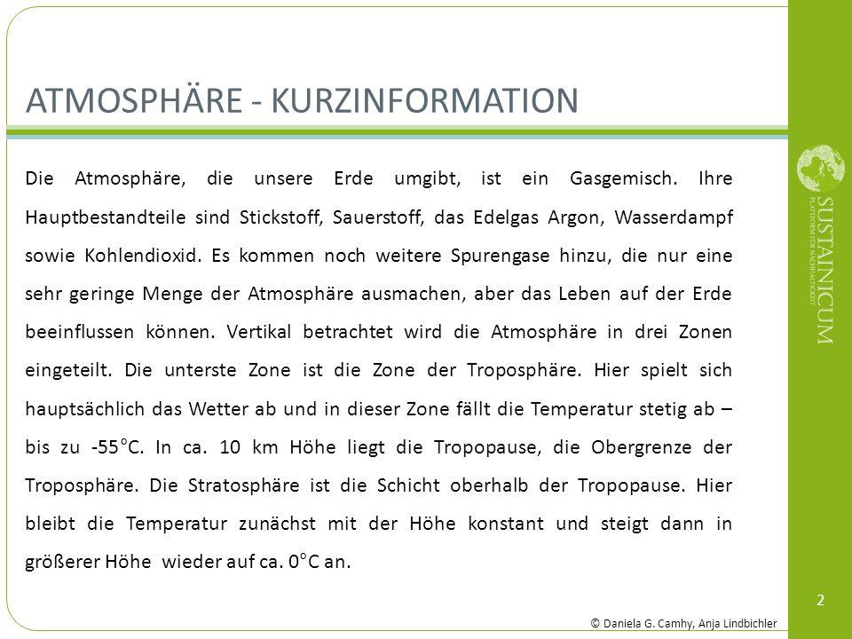 ATMOSPHÄRE - KURZINFORMATION 2 Die Atmosphäre, die unsere Erde umgibt, ist ein Gasgemisch. Ihre Hauptbestandteile sind Stickstoff, Sauerstoff, das Ede