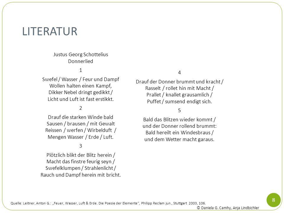 LITERATUR Justus Georg Schottelius Donnerlied 1 Swefel / Wasser / Feur und Dampf Wollen halten einen Kampf, Dikker Nebel dringt gedikkt / Licht und Lu