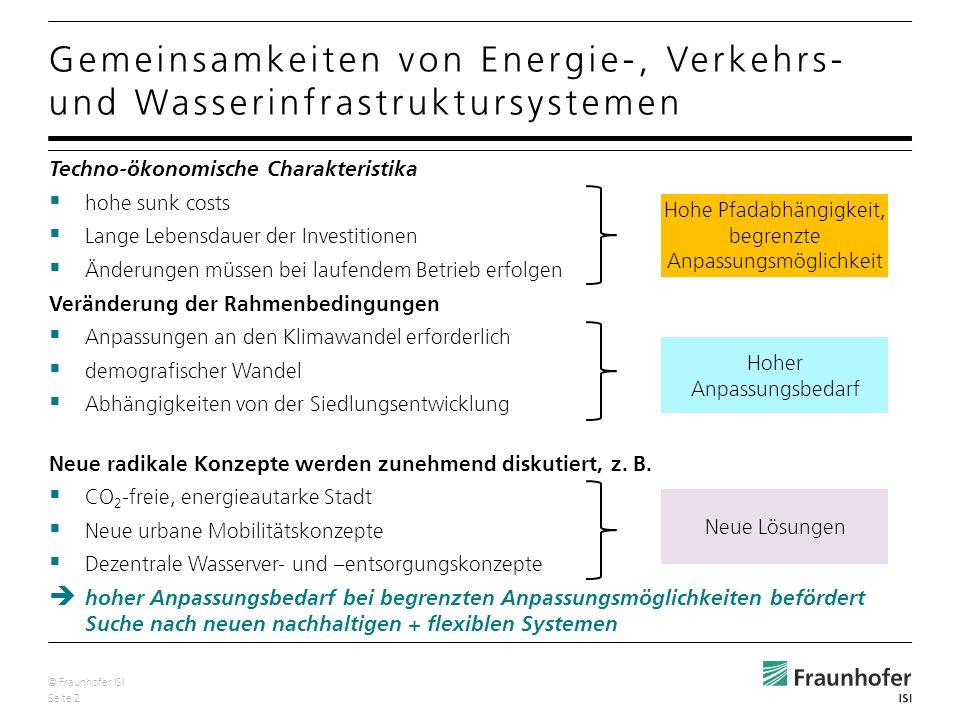 © Fraunhofer ISI Seite 3 Direkte technische Kopplungen Elektromobilität zwischen Stromversorgung und neuem Fahrzeugtyp Bedeutung des Verkehrs als Energieverbraucher Verbindung zwischen Wasser sparen = Energie sparen (z.B.