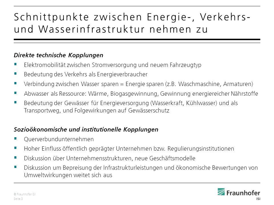 © Fraunhofer ISI Seite 4 Infrastruktursysteme gekennzeichnet durch Suche nach flexiblen Systemen mit Anpassungsmöglichkeiten an neue Herausforderungen Entwicklung neuer Konzepte Berücksichtigung der Querbeziehungen und Randbedingungen notwendig ist langfristiges Denken Denken in Gesamtsystemen Denken über Infrastrukturgrenzen hinweg Rolle für oberrheinisches Umweltinstitut !.