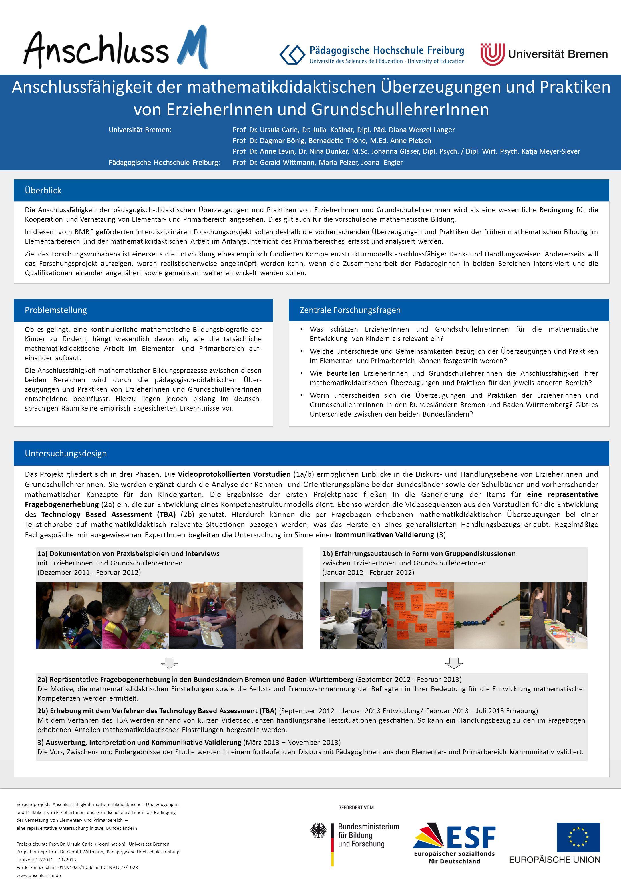 Verbundprojekt: Anschlussfähigkeit mathematikdidaktischer Überzeugungen und Praktiken von ErzieherInnen und GrundschullehrerInnen als Bedingung der Ve
