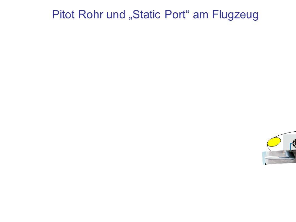 Druckmessung in Flugzeugen Statischer + Dynamischer Druck, Pitot-Druck p S+D Statischer Druck p S Staudruck = Dynamischer Druck