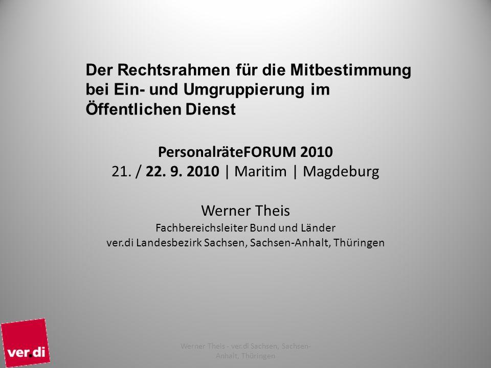 1 Werner Theis - ver.di Sachsen, Sachsen- Anhalt, Thüringen PersonalräteFORUM 2010 21. / 22. 9. 2010 | Maritim | Magdeburg Werner Theis Fachbereichsle
