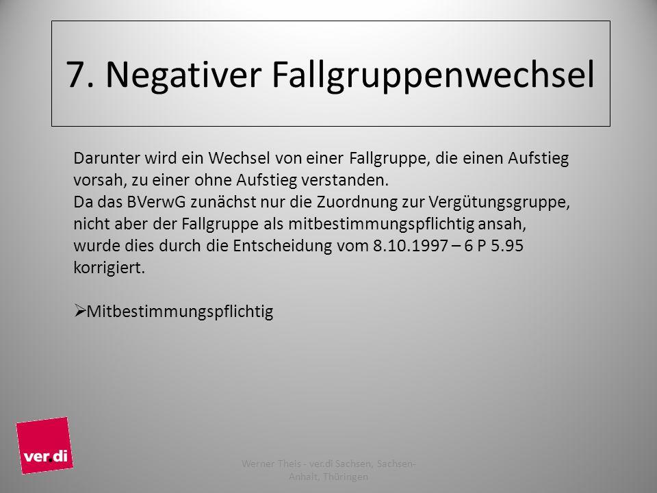 7. Negativer Fallgruppenwechsel Darunter wird ein Wechsel von einer Fallgruppe, die einen Aufstieg vorsah, zu einer ohne Aufstieg verstanden. Da das B