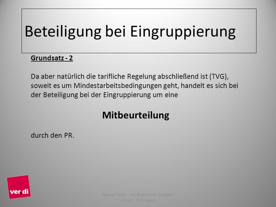 Beteiligung bei Eingruppierung Grundsatz - 2 Da aber natürlich die tarifliche Regelung abschließend ist (TVG), soweit es um Mindestarbeitsbedingungen geht, handelt es sich bei der Beteiligung bei der Eingruppierung um eine Mitbeurteilung durch den PR.