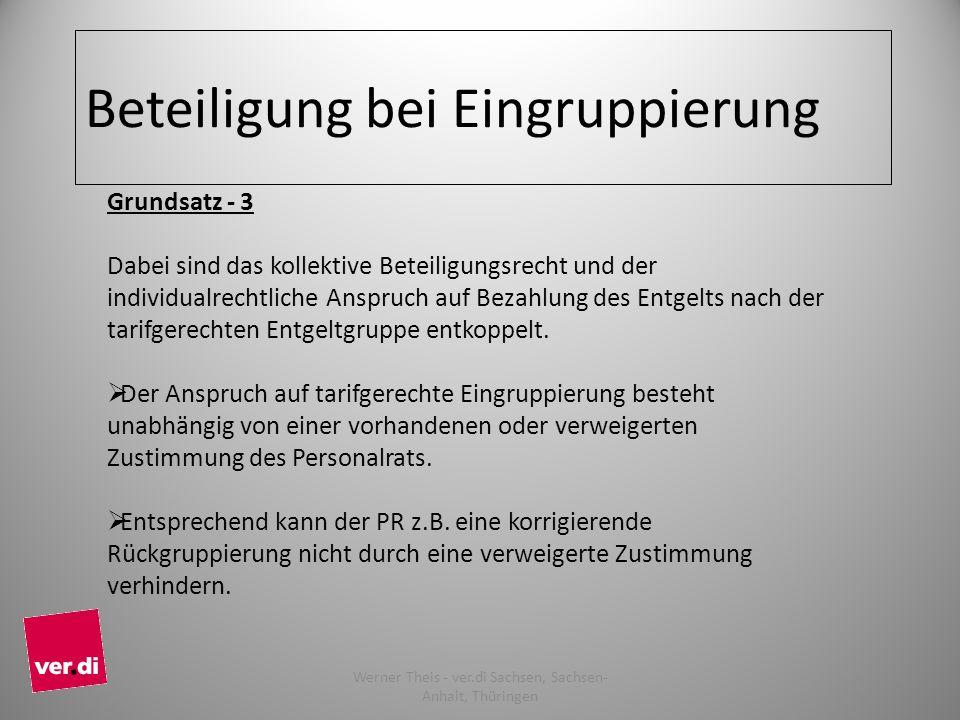 Beteiligung bei Eingruppierung Grundsatz - 3 Dabei sind das kollektive Beteiligungsrecht und der individualrechtliche Anspruch auf Bezahlung des Entgelts nach der tarifgerechten Entgeltgruppe entkoppelt.