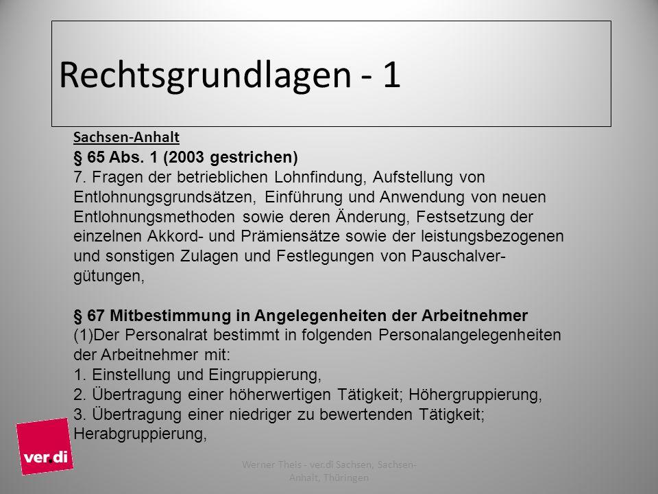 Rechtsgrundlagen - 1 Sachsen-Anhalt § 65 Abs. 1 (2003 gestrichen) 7. Fragen der betrieblichen Lohnfindung, Aufstellung von Entlohnungsgrundsätzen, Ein