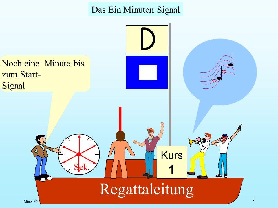 März 2009U.Finckh - Breitbrunn 5 Das Vorbereitungssignal Sek Letzte Minute bis zum Vorbereitungs- Signal läuft Noch 3 Minuten bis zum 1-Minuten- Signal Schuss und Flagge müssen zeitgleich kommen Entweder P oder I oder Z oder Schwarz Kurs 1