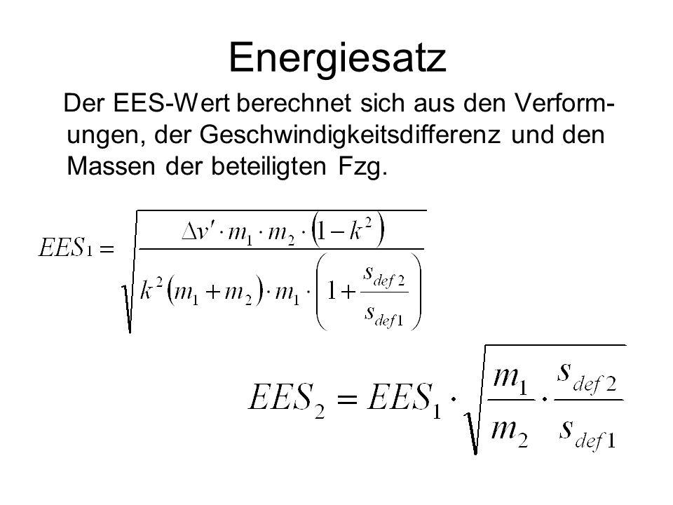 Energiesatz Der EES-Wert berechnet sich aus den Verform- ungen, der Geschwindigkeitsdifferenz und den Massen der beteiligten Fzg.