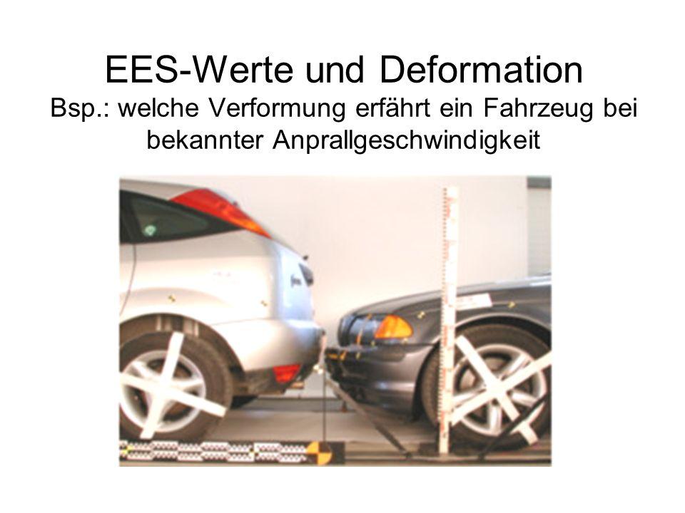 EES-Werte und Deformation Bsp.: welche Verformung erfährt ein Fahrzeug bei bekannter Anprallgeschwindigkeit