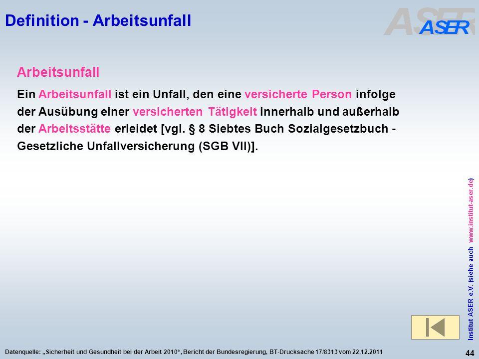 44 Institut ASER e.V. (siehe auch www.institut-aser.de) Datenquelle: Sicherheit und Gesundheit bei der Arbeit 2010, Bericht der Bundesregierung, BT-Dr