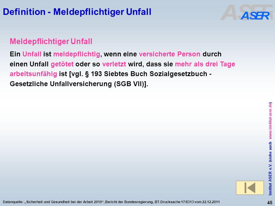 45 Institut ASER e.V. (siehe auch www.institut-aser.de) Datenquelle: Sicherheit und Gesundheit bei der Arbeit 2010, Bericht der Bundesregierung, BT-Dr