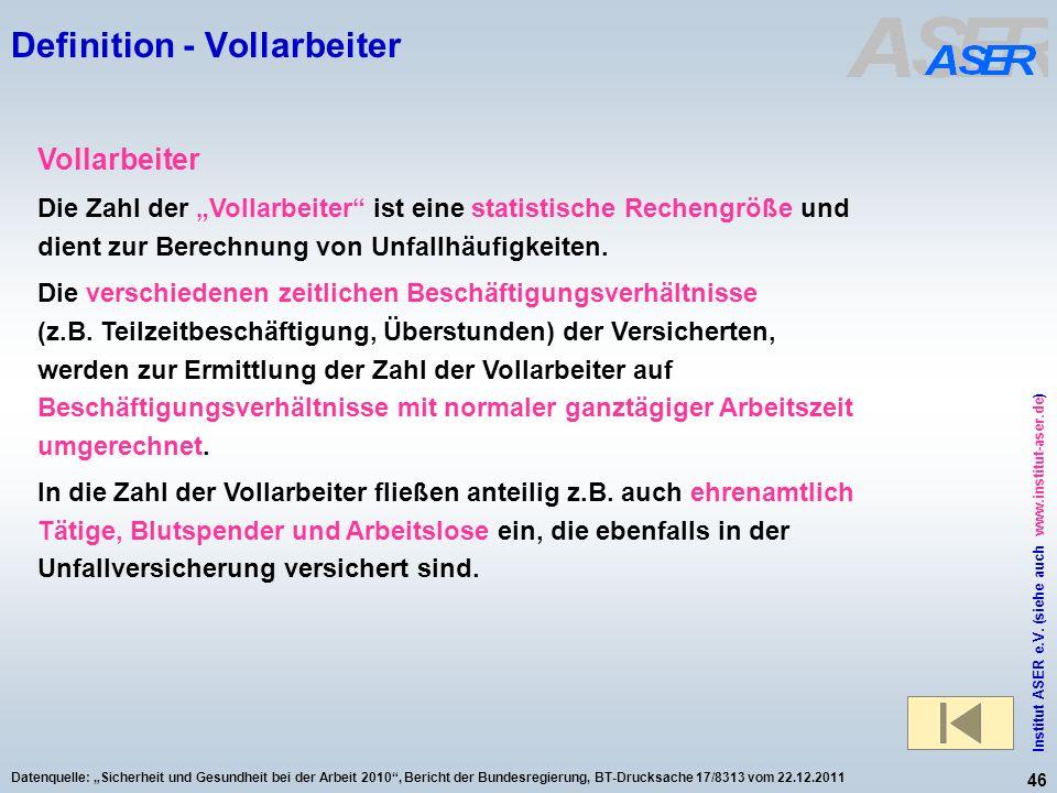 46 Institut ASER e.V. (siehe auch www.institut-aser.de) Datenquelle: Sicherheit und Gesundheit bei der Arbeit 2010, Bericht der Bundesregierung, BT-Dr