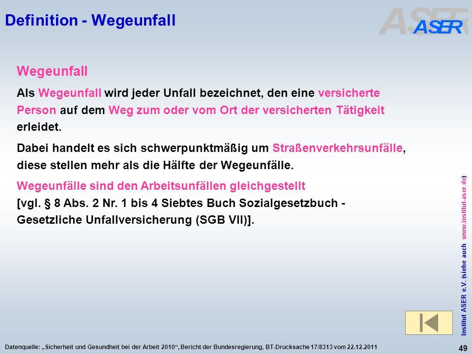 49 Institut ASER e.V. (siehe auch www.institut-aser.de) Datenquelle: Sicherheit und Gesundheit bei der Arbeit 2010, Bericht der Bundesregierung, BT-Dr