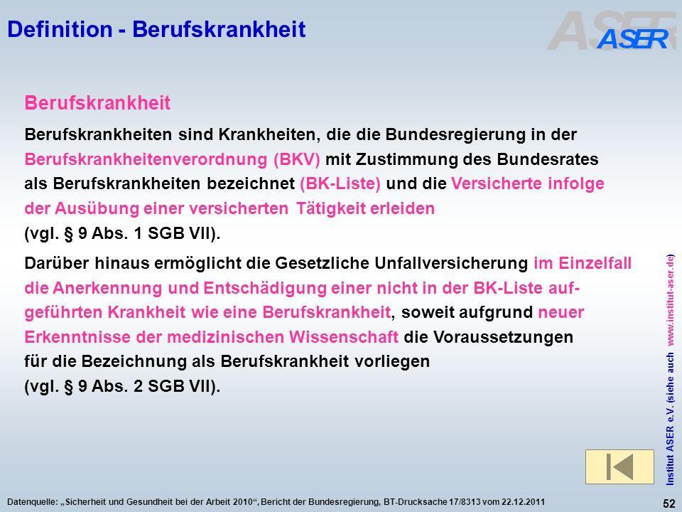 52 Institut ASER e.V. (siehe auch www.institut-aser.de) Datenquelle: Sicherheit und Gesundheit bei der Arbeit 2010, Bericht der Bundesregierung, BT-Dr