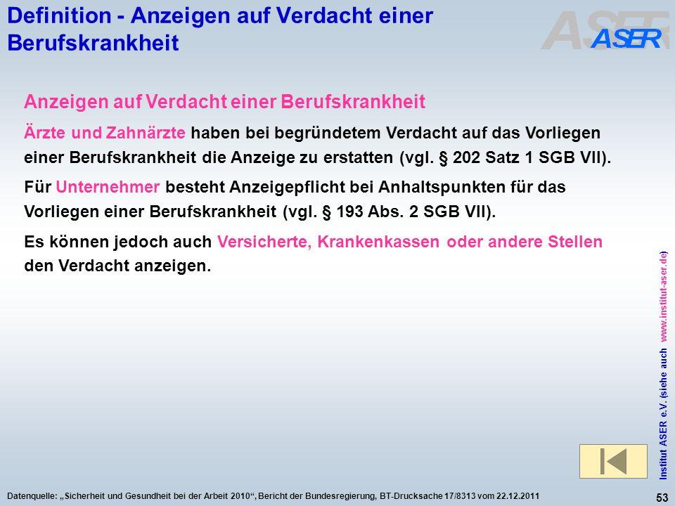 53 Institut ASER e.V. (siehe auch www.institut-aser.de) Datenquelle: Sicherheit und Gesundheit bei der Arbeit 2010, Bericht der Bundesregierung, BT-Dr