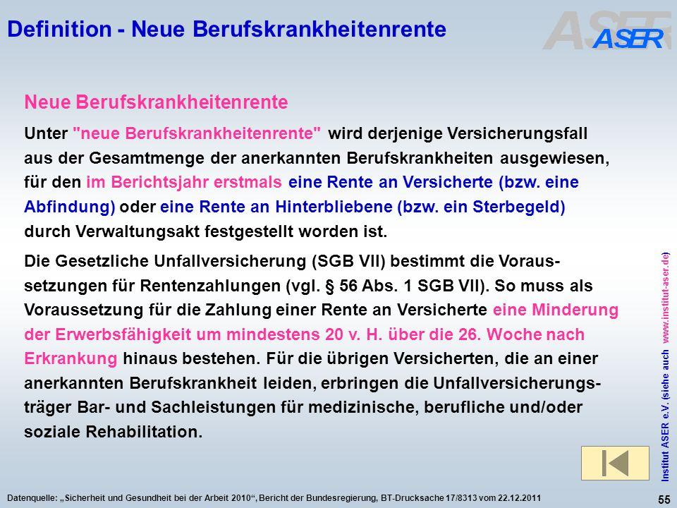 55 Institut ASER e.V. (siehe auch www.institut-aser.de) Datenquelle: Sicherheit und Gesundheit bei der Arbeit 2010, Bericht der Bundesregierung, BT-Dr