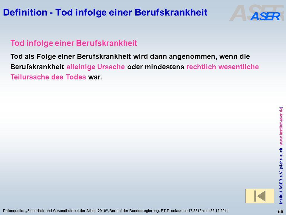 56 Institut ASER e.V. (siehe auch www.institut-aser.de) Datenquelle: Sicherheit und Gesundheit bei der Arbeit 2010, Bericht der Bundesregierung, BT-Dr