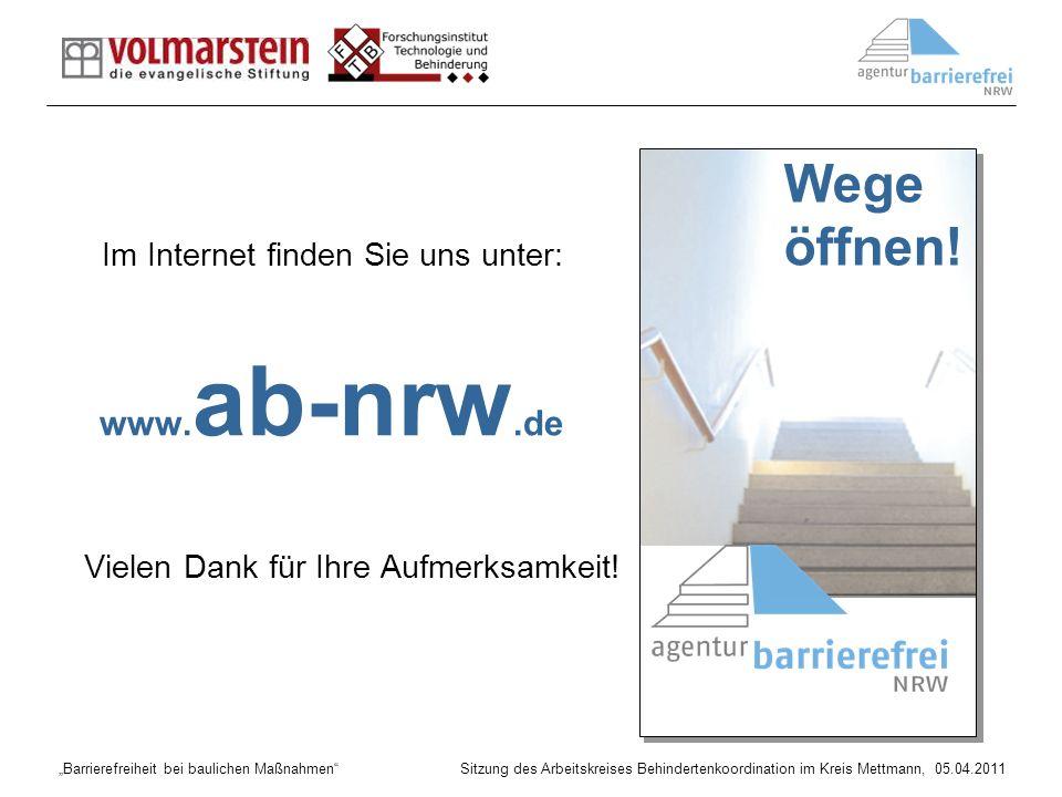 Barrierefreiheit bei baulichen Maßnahmen Sitzung des Arbeitskreises Behindertenkoordination im Kreis Mettmann, 05.04.2011 Im Internet finden Sie uns u