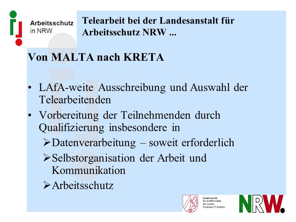 Arbeitsschutz in NRW Landesanstalt für Arbeitsschutz des Landes Nordrhein-Westfalen Telearbeit bei der Landesanstalt für Arbeitsschutz NRW... Von MALT